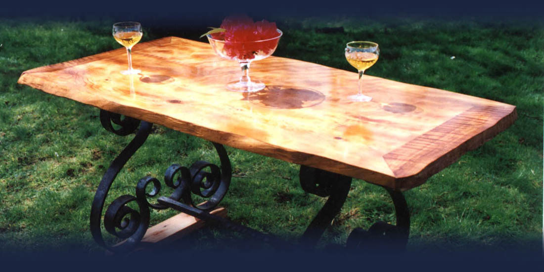 Custom curly-grained table from Blue Ox Millworks