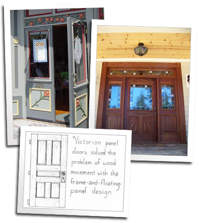 Custom entry doors and a diagram of the victorian stile and rail