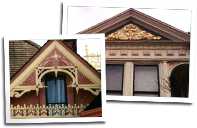 Two more custom gables with hand carved elements